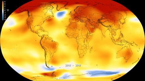 Este mapa muestra la temperatura global promedio de la Tierra desde 2014 hasta 2018, en comparación con el promedio de referencia de 1951 a 1980, según un análisis de la NASA.