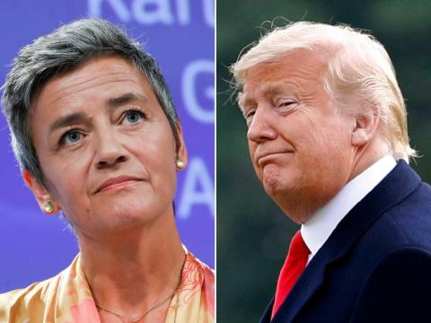 Margrethe Vestager (left) and US President Donald Trump