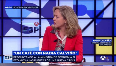 La ministra Nadia Calviño en Espejo Público.