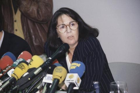 La ministra portavoz Rosa Conde, en la rueda de prensa posterior a un Consejo de Ministros.