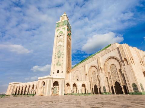 La mezquita de Hassan II en Casablanca, Marruecos.