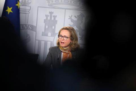 Nadia Calviño, durante una comparecencia de prensa.
