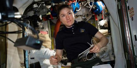 NASA astronaut Christina Koch works on the International Space Station on April 8, 2019.