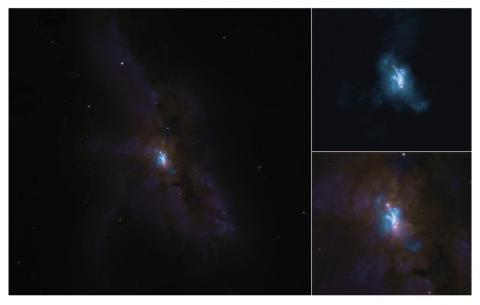 NGC 6240 vista con ALMA (arriba a la derecha) y con el Telescopio Espacial Hubble (abajo a la derecha).