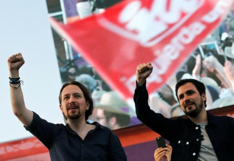 Pablo Iglesias y Alberto Garzón durante la campaña electoral del 26J (2016).