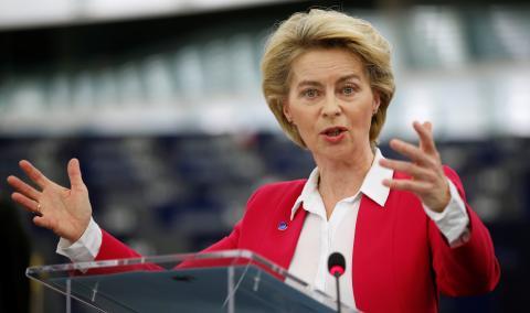 La presidenta de la Comisión Europea, Ursula von der Leyen, en una intervención en la Eurocámara, en Estrasburgo (Francia)