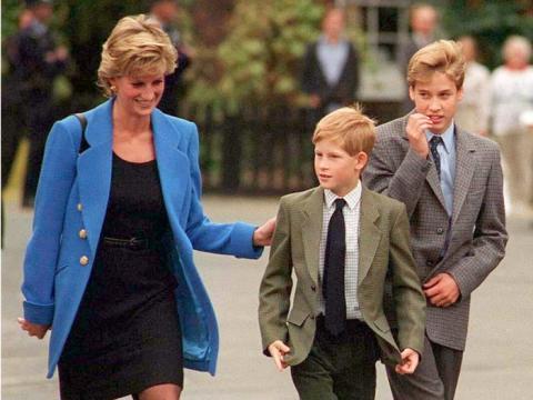Los príncipes Harry y William junto a Lady Di.