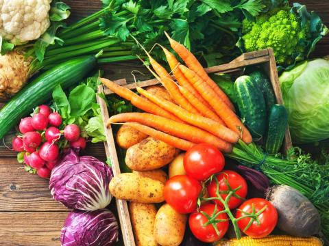 Multi-color veggies from greens and broccoli to sweet potatoes and carrot are encouraged on the DASH diet.