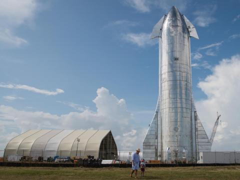 Un prototipo del cohete Startship Mk 1 de SpaceX.