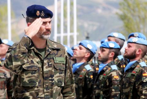 El rey Felipe VI y las Fuerzas Provisionales Españolas de las Naciones Unidas en Líbano.