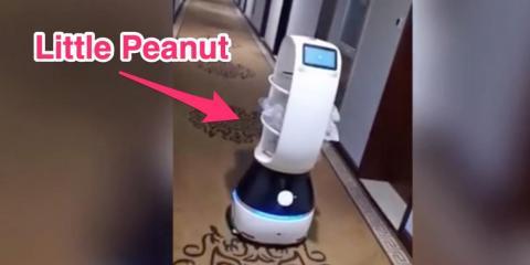 Un robot llamado pequeño cacahuete entrega comida a gente bajo cuarentena por el coronavirus de Wuhan.