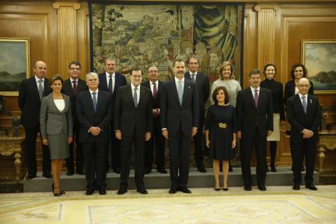 Segundo Gobierno de Mariano Rajoy, en la XII legislatura, junto al rey.