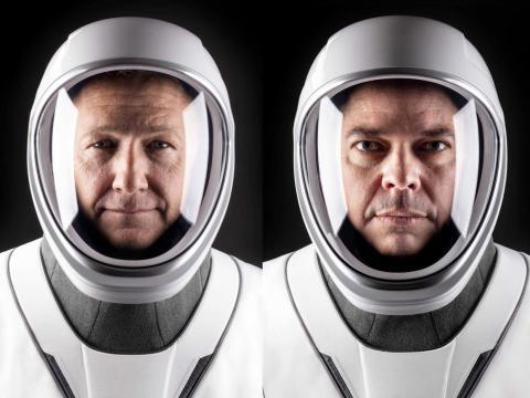 Los astronautas de la NASA Doug Hurley (izq.) y Bob Behnken (der.) serán los primeros en viajar para SpaceX.