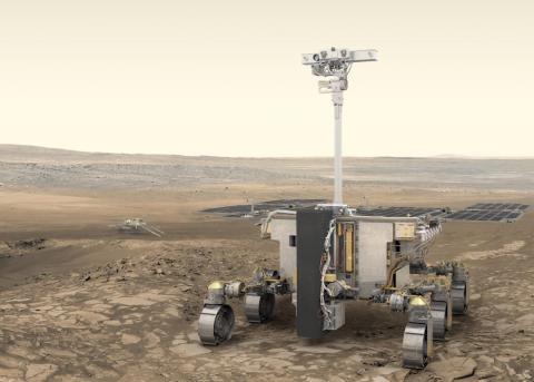 Una representación artística del rover de ExoMars.