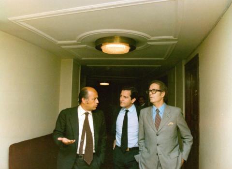 Suárez junto a sus ministros de Hacienda y Obras Públicas en el 78.