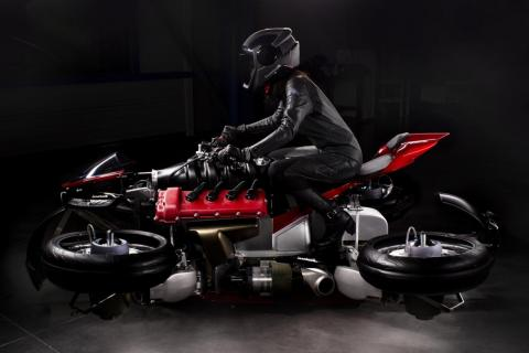 Thanks to kerosene tank, the motorcycle is capable of ten minutes of continuous flight.