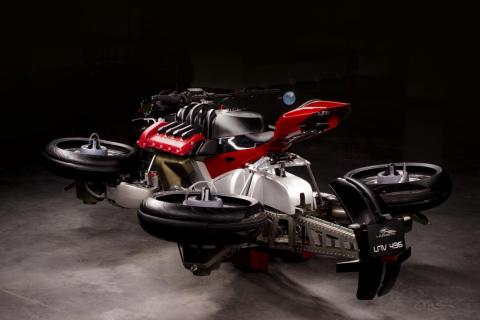The turbines are located at four corners of the motorcycle...