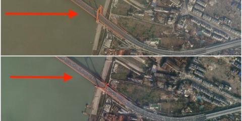 Dos imágenes de satélite muestran el tráfico en el puente del río Yingwuzhou Yangtze, en Wuhan (China), el 12 y el 28 de enero.