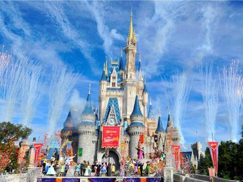 El castillo de Disney World en Orlando, Florida.