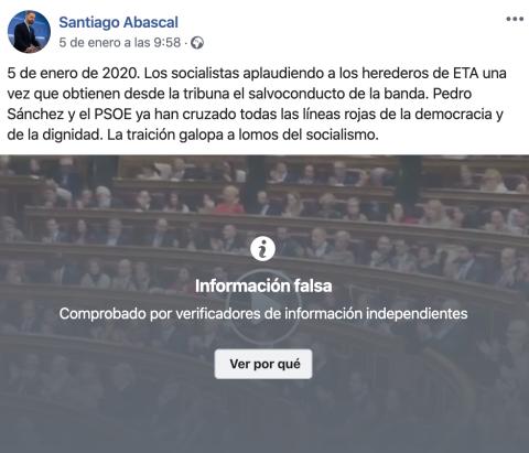 Vídeo de Santiago Abascal vetado por Facebook.