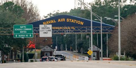 Una vista general de la Estación Aérea Naval de Pensacola después del tiroteo del 6 de diciembre de 2019 en Pensacola, Florida, EEUU.