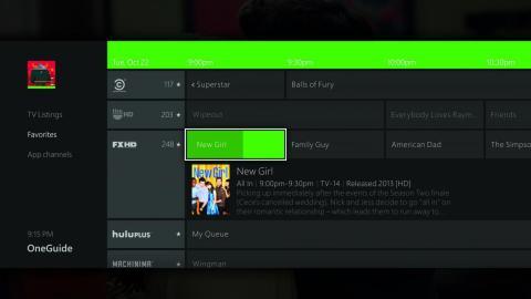 """La """"OneGuide"""" de Xbox One es una aplicación pensada para ver todas las funciones y cartelera de la televisión en un solo lugar."""