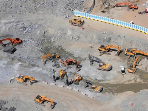 Las obras de construcción se llevan a cabo como parte del proyecto de expansión de la Gran Mezquita en la ciudad sagrada de La Meca