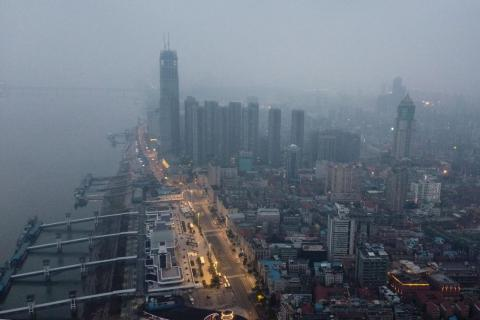 An aerial view of Wuhan after a city-wide lockdown was imposed.