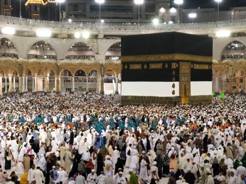 La Kaaba en Masjid al-Haram en La Meca, Arabia Saudita.