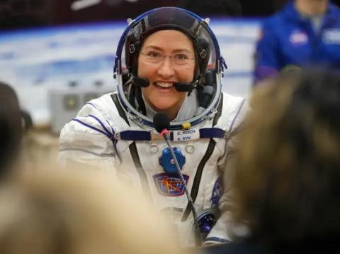 La astronauta Christina Koch, que volvió de la Estación Espacial el 6 de febrero de 2020, fotografiada el 14 de marzo de 2019.