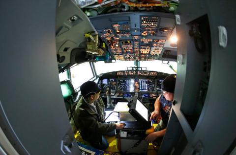 La cabina de un Boeing 737 Max.