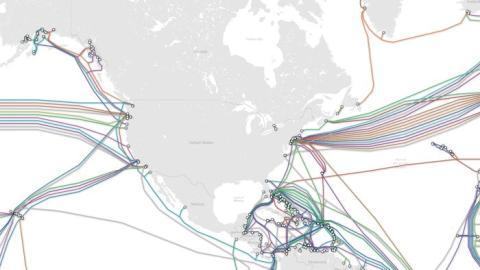 Cables submarinos conectan Estados Unidos con el resto del mundo.