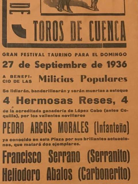 Cartel de un acto benéfico en la Plaza de Toros de Cuenca en favor de las milicias populares (septiembre de 1936).
