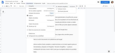 Cómo comprobar errores gramaticales a través de Google Docs