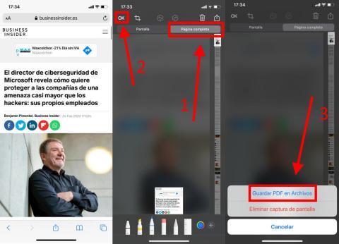 Cómo guardar una página web como PDF en iPhone