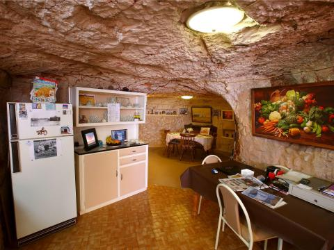 Inside one of the underground homes.
