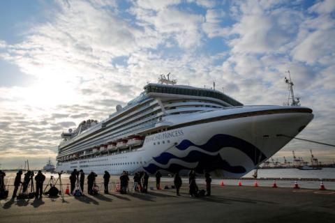 El crucero Diamond Princess llegó a la terminal de cruceros del muelle Daikoku en Yokohama, Japón, el 7 de febrero de 2020.