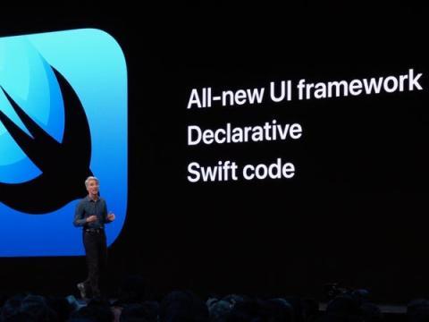 Craig Federighi, vicepresidente senior de ingeniería de software de Apple, en la presentación de SwiftUI.