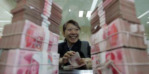 Dinero en el banco de China.