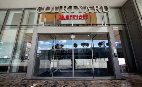 La entrada del hotel Marriot de Viena (Austria)