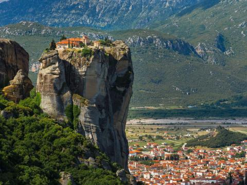 Even further removed is the complex of monasteries known as Meteora in Greece. They sit atop sandstone pillars.