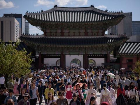 Palacio Gyeongbokgung en Seúl, Corea del Sur, el 26 de septiembre de 2018.
