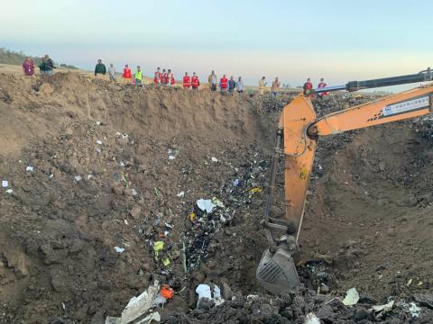 El lugar del accidente del Boeing 737 Max de Ethiopian Airlines.