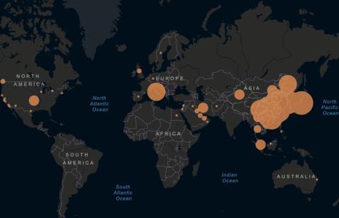 Mapa con los casos existentes de coronavirus a 24 de febrero.