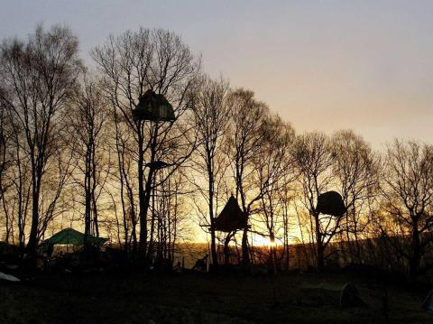 Treehouses in Stanton Lees, England.