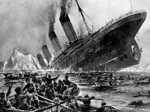 Una representación artística del hundimiento del barco.
