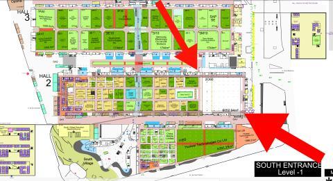 Planos del Mobile World Congress con el hueco de Ericsson.