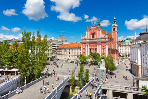Plaza Preseren, en Liubliana, Eslovenia