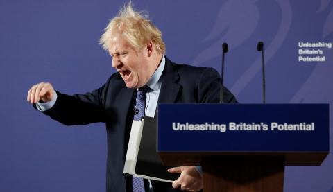 El primer ministro británico, Boris Johnson, en un mitin en Londres tras el Brexit