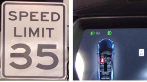 Señal de límite de velocidad modificada para la prueba.